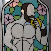 Extremely queer stained glass art.