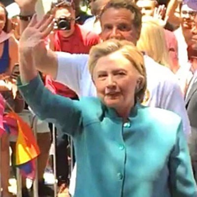 Hillary Clinton makes historic surprise appearance in NYC Pride Parade.
