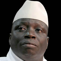 Gambia ruler Yahya Jammeh, who threatened to slit the throats of gay men, loses election.