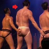 Steve Grand gets naked during Broadway Bares performance.