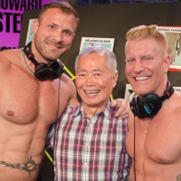 "Austin Wolf and Johnny V hang with George Takei for Howard Stern's ""Cocktober."""