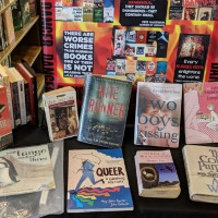 Anti-gay preachers want gay books banned -- from a display of banned books.